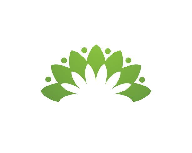 Logo de fleur de lotus et icône de modèle vectoriel