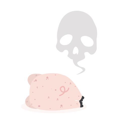 Lindo cerdo rosa de nuevo muerto vector