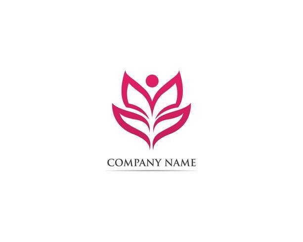 Ilustración de vector de hoja loto naturaleza logo