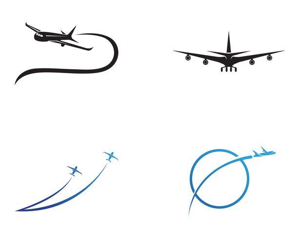 Flygplan, flygplan, logotyp för flygbolag. Resan, flygresor, flyglinjer symbol. Vektor illustration