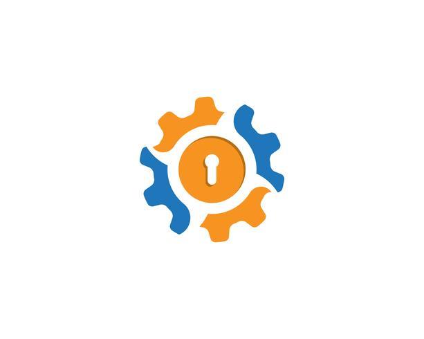 Toestel slot Logo Template vector pictogram illustratie ontwerp