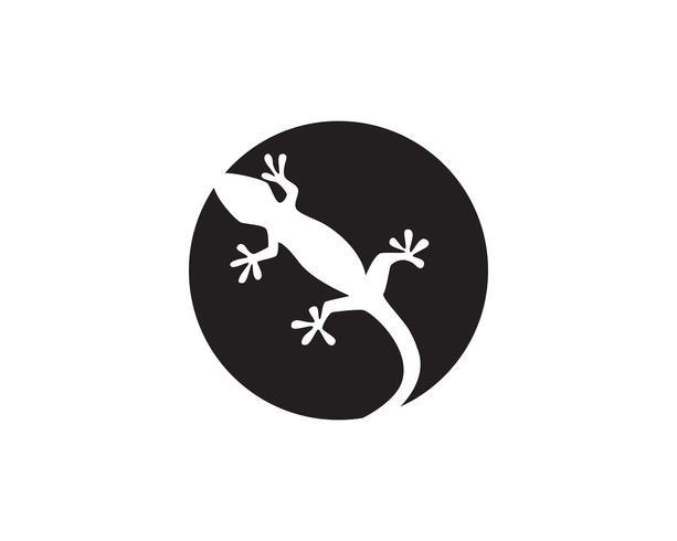 Vettore del nero della siluetta del geco del camaleonte della lucertola
