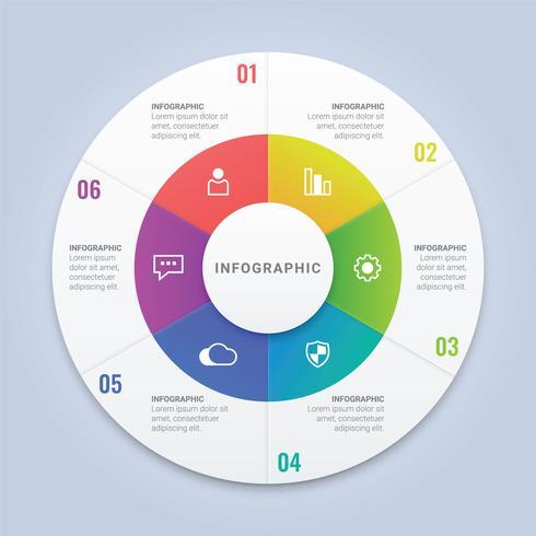 Vector plantilla de círculo de infografía con 6 opciones para diseño de flujo de trabajo, diagrama, informe anual, diseño web