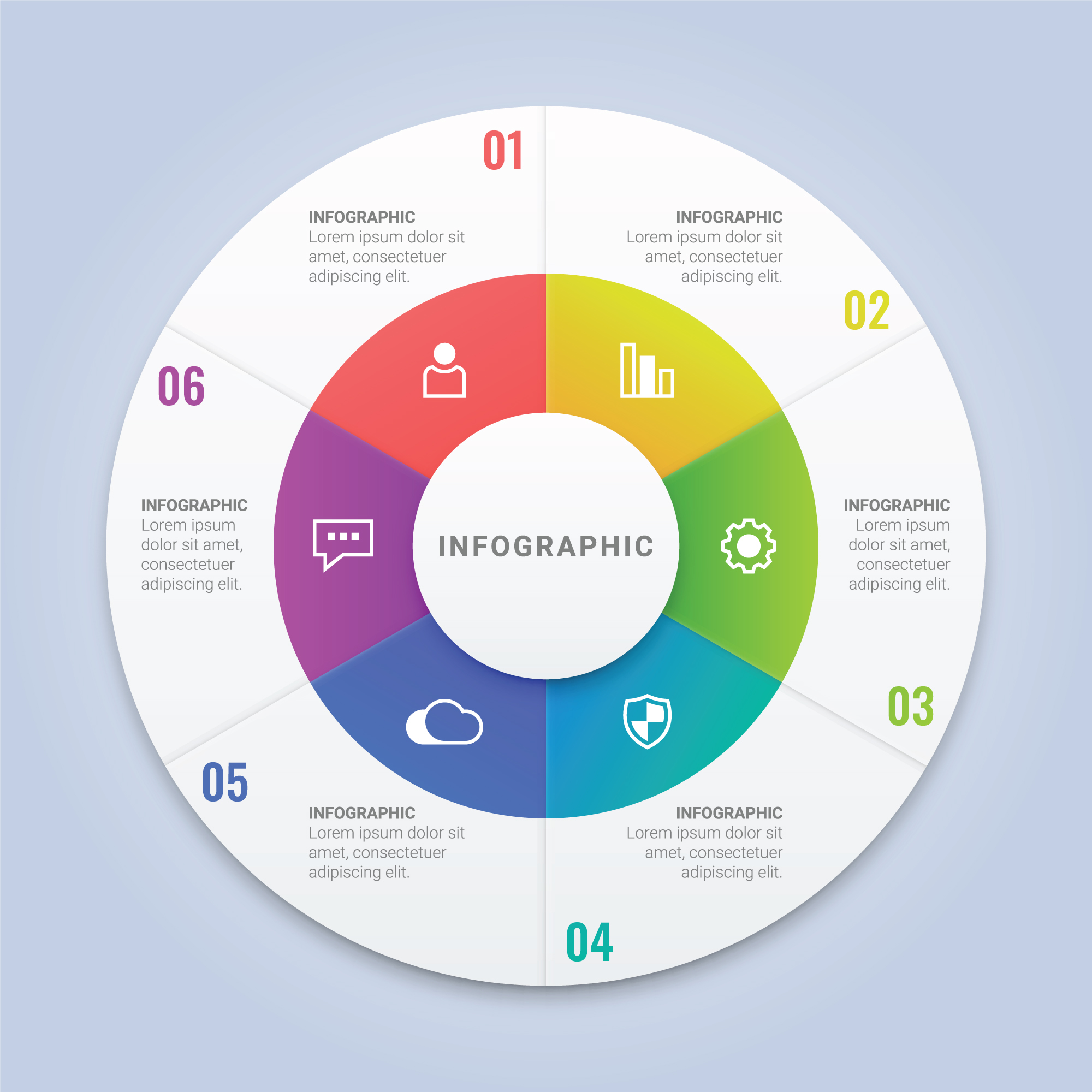 Vector Infographic Circle Template With 6 Options For