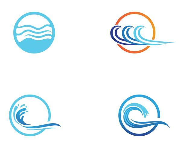 Wellenstrandlogo und Symbolvektorschablone vektor