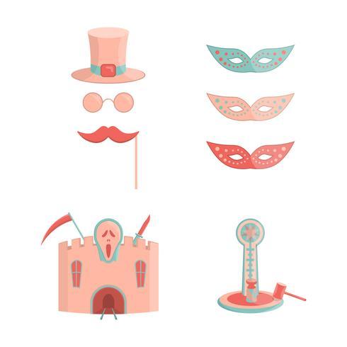 Set of cartoon amusement park rides icons vector