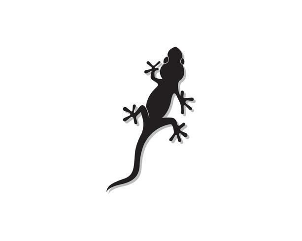 Lagarto camaleão Gecko Silhouette preto vector preto