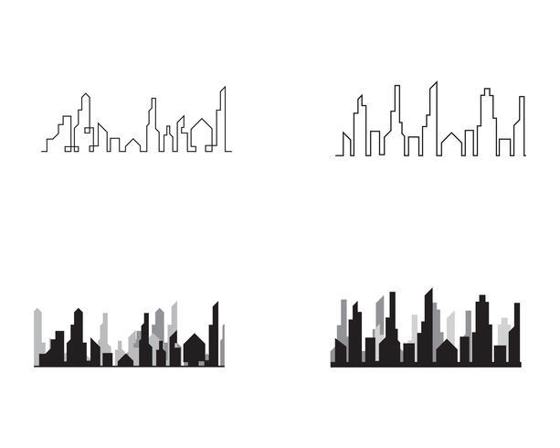 Silueta de la ciudad moderna. ilustración vectorial en diseño plano vector