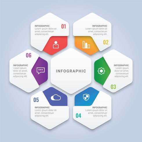 Modern Infográfico 3D abstrato modelo com seis opções para Layout de fluxo de trabalho, diagrama, relatório anual, Web Design