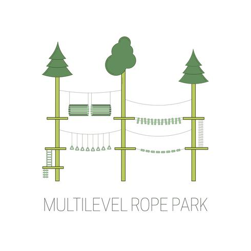 Multilevel rope park. Vector illustration.