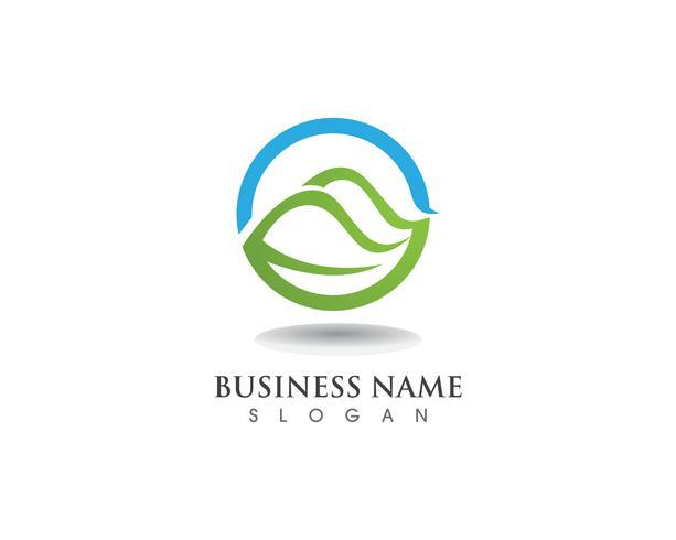 Wave nature and leaf  logo