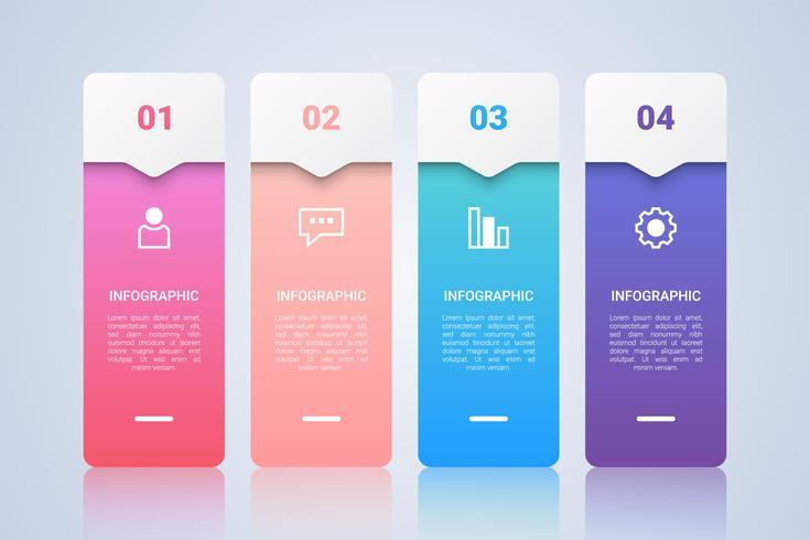 Plantilla de infografía colorida simple para negocios con etiqueta multicolor de cuatro pasos