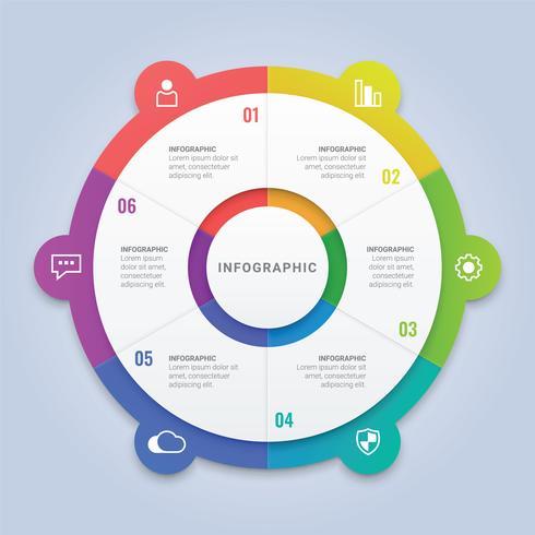 Modèle de cercle d'infographie d'entreprise avec 6 options pour la disposition du flux de travail, diagramme, rapport annuel, conception Web