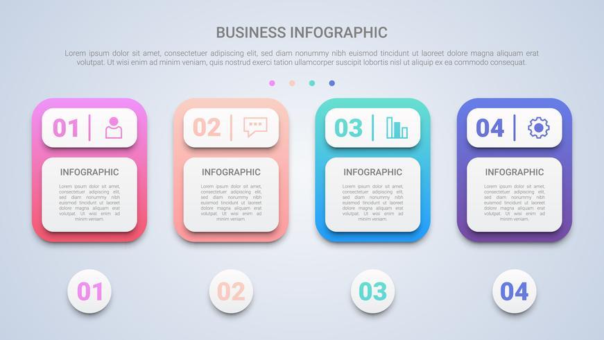 3D Clean Infográfico Template para Negócios com quatro etapas Multicolor Label vetor