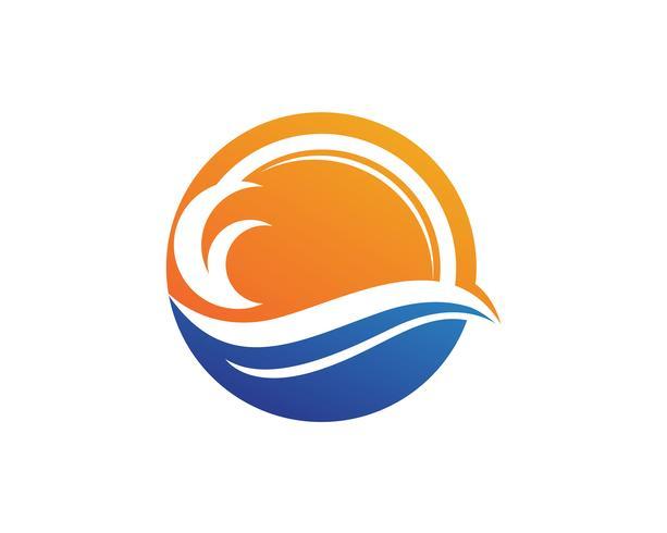 logo de la plage de vagues vecteur
