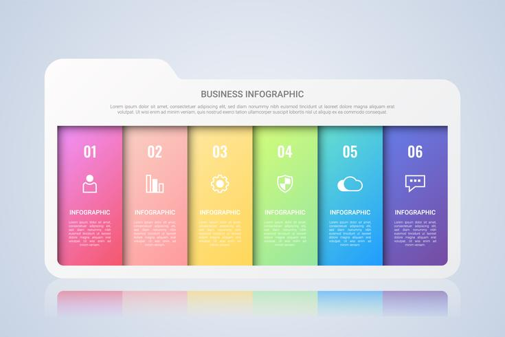 Modello di Infographic di affari della cartella con un'etichetta multicolore di sei punti