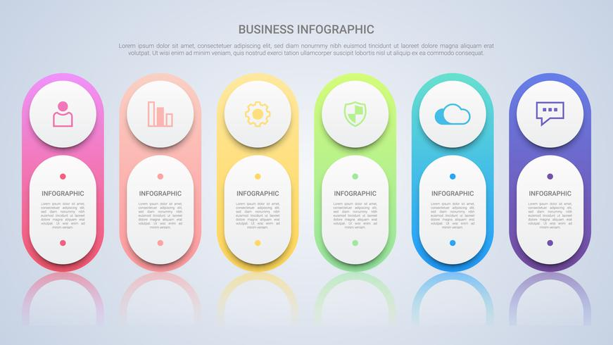 Simple Infographic Template for Business with Six Steps Multicolor Label