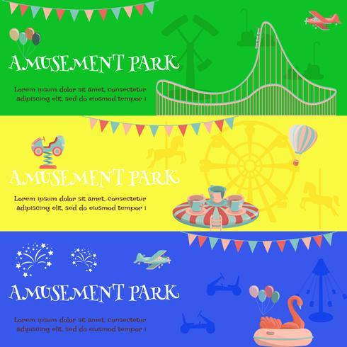Amusement park funfair horizontal banner