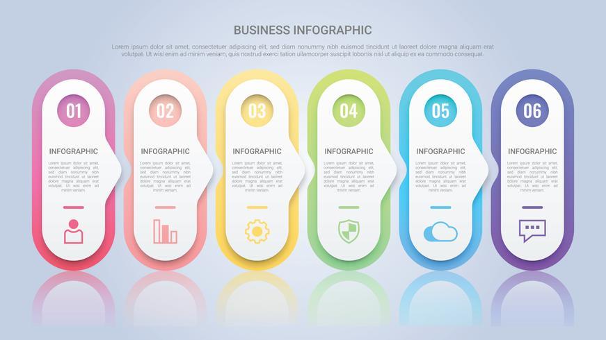 Infographic sjabloon voor het bedrijfsleven met zes stappen Multicolor Label