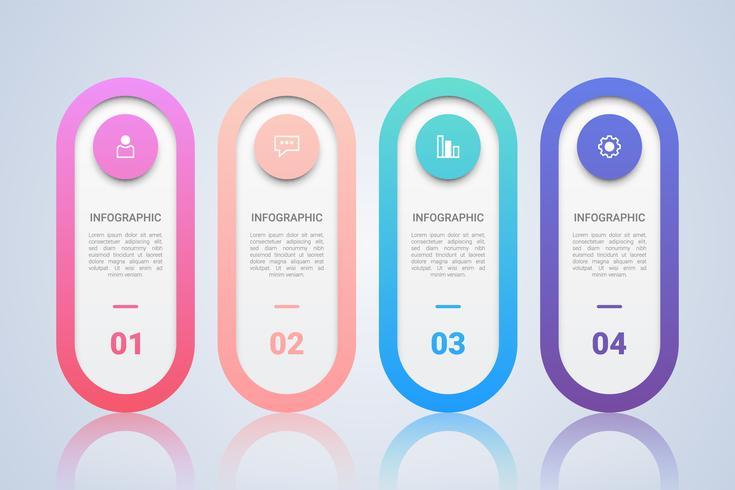 Modello infografica minimalista per le imprese con etichetta multicolore a quattro passi