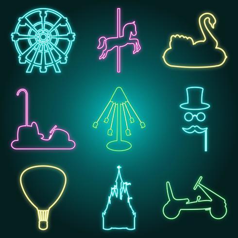 Neon style amusement park icon set vector