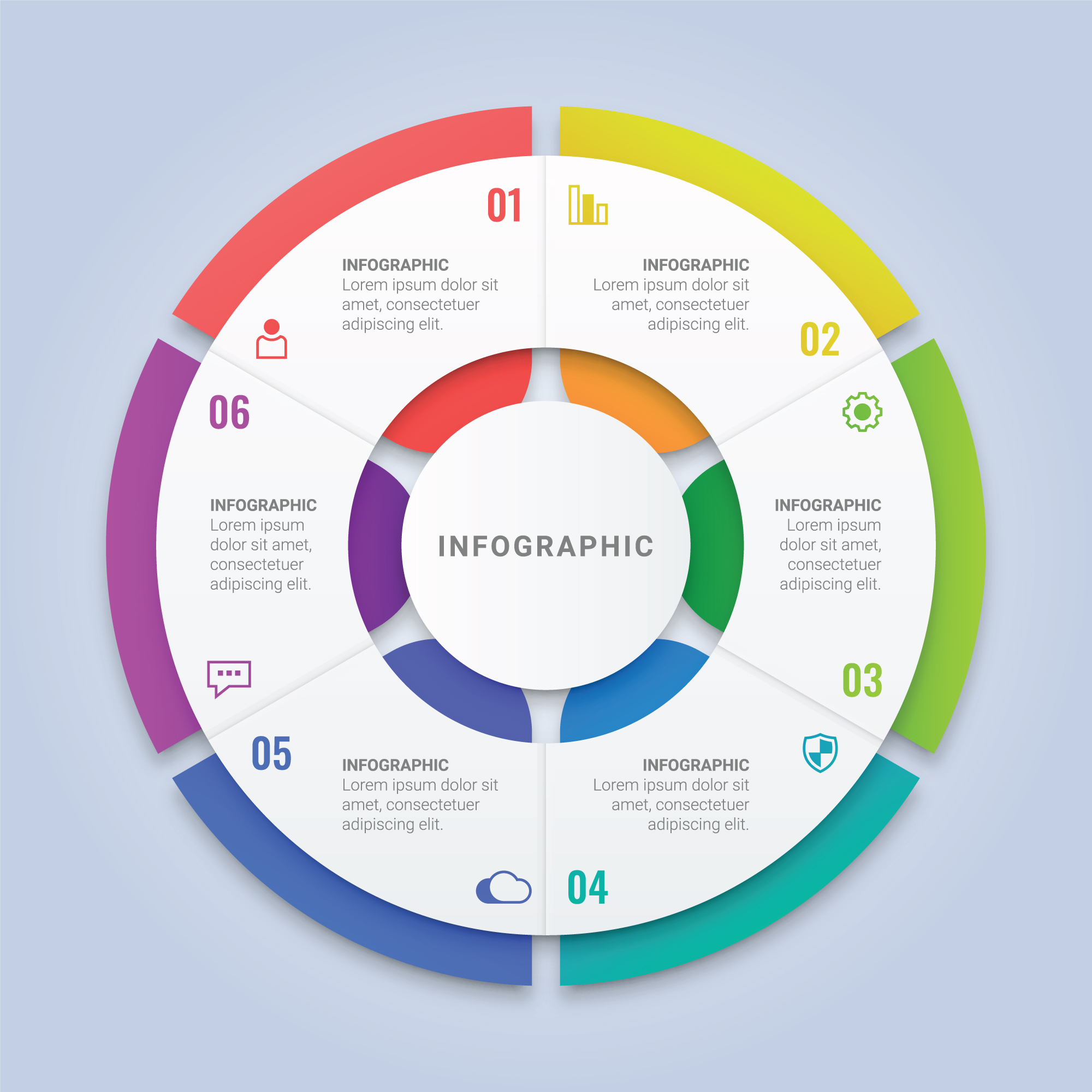 Circle Infographic Template With Six Options For Workflow