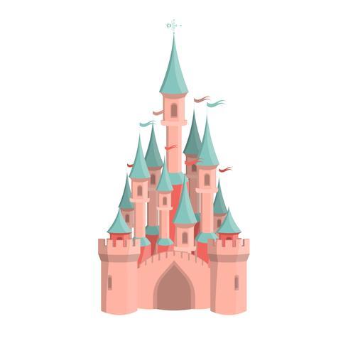 Château rose de dessin animé. Icône de parc d'attractions isolé.