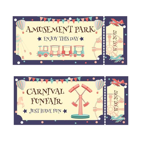 Amusement park ticket vector