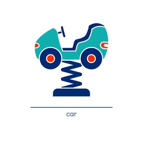 Strichzeichnungen Autofahrt. Kinderspielplatz-Symbol