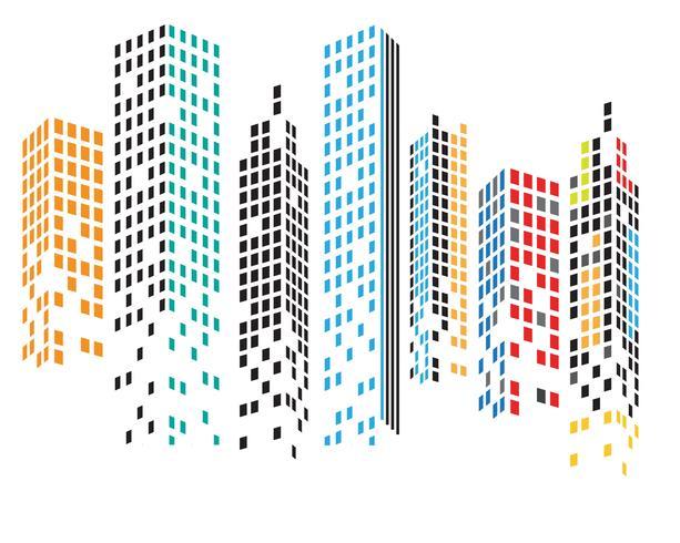 Skyline della città moderna. sagoma della città. illustrazione vettoriale piatta