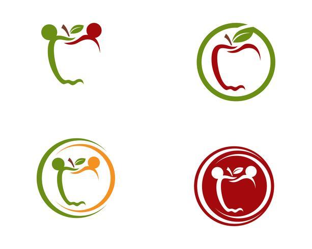 Apple-Vektorillustrationsdesignikonen-Logoschablone Vektor
