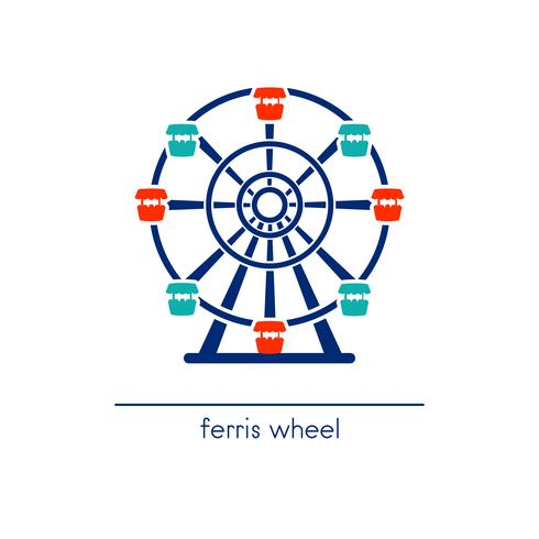 Ferris wheel line art icon. Amusement park ride.