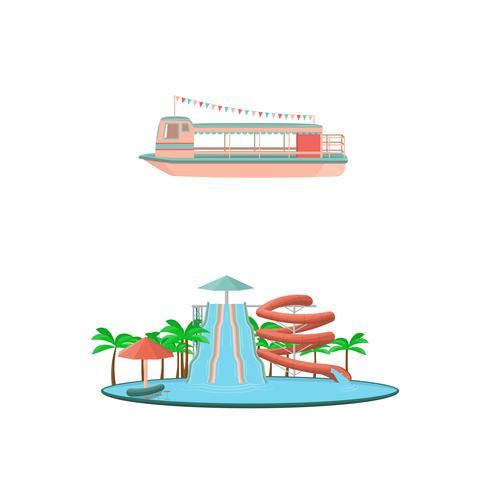 Set van cartoon pretpark rijdt pictogrammen