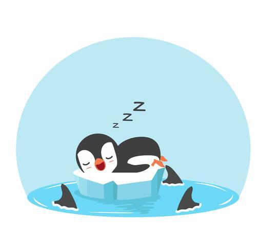 Lindo pingüino duerme con tiburones de aleta