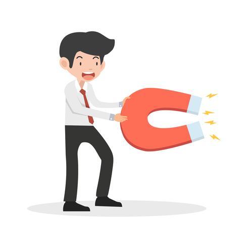 businessman hold Big magnet cartoon vector