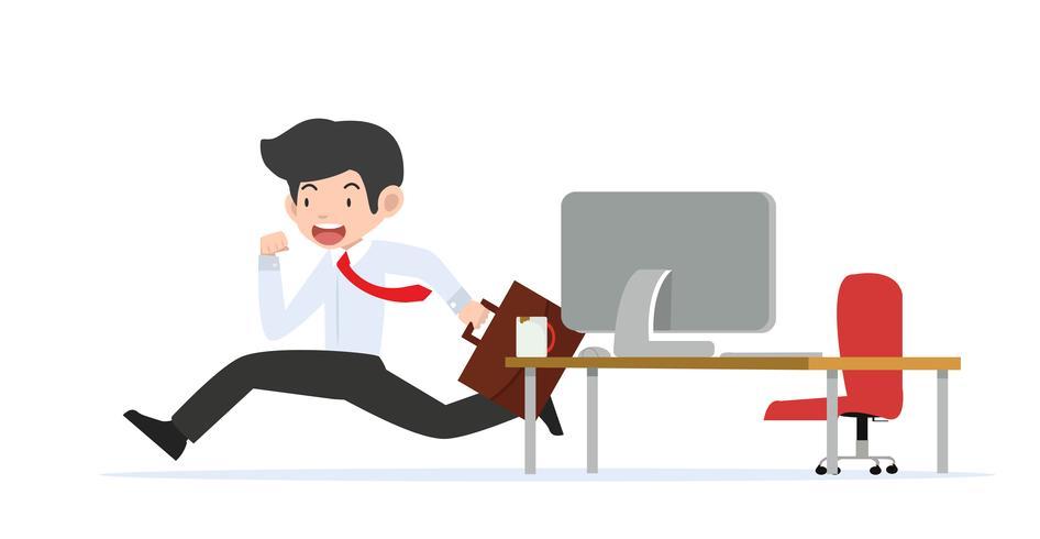 empresario corriendo desde la sala de oficina vector