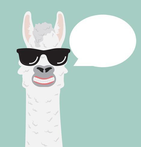 Linda alpaca con bocadillo de diálogo de gafas vector