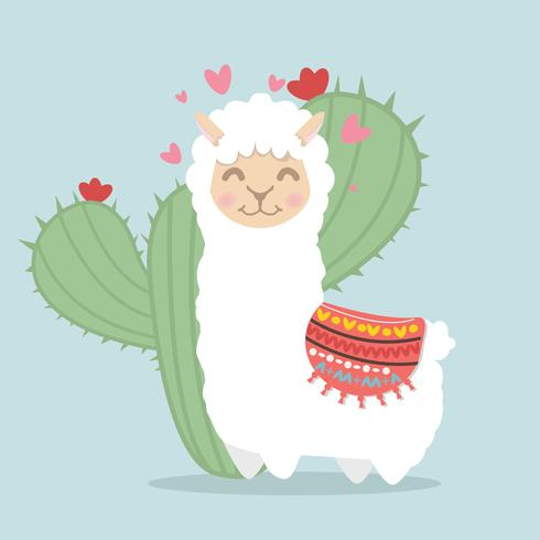 Lama-Alpaka flauschig mit Kaktuspflanze vektor