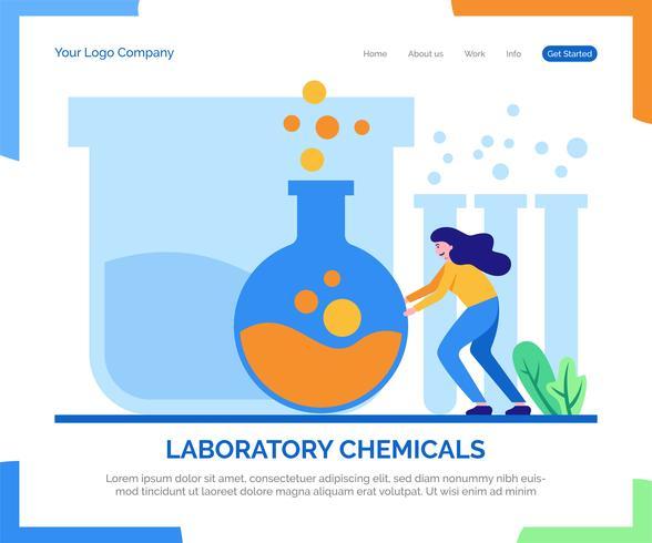 Fundo do vetor da página de aterrissagem dos produtos químicos do laboratório.