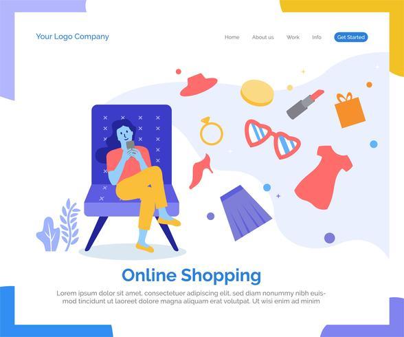 Fond de vecteur de page de destination de magasinage en ligne.