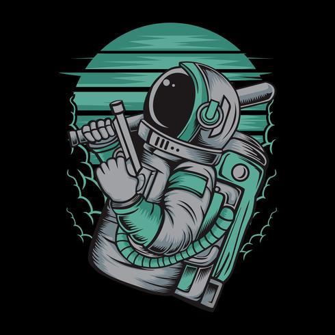 astronaute manipulant le dessin à la main de gun.vector, dessins de chemise, motard, disque jockey, gentleman, barbier et beaucoup d'autres. isolé et facile à modifier. Illustration vectorielle - vecteur