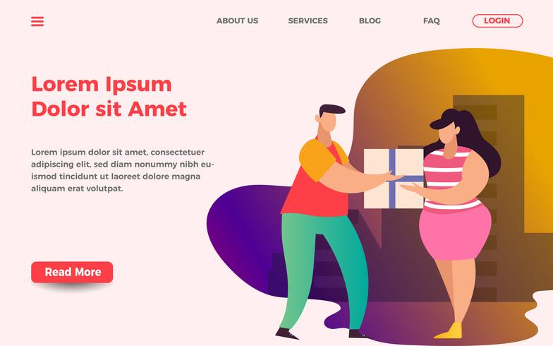 Delivery courier landing page template. men give package to women vector illustration