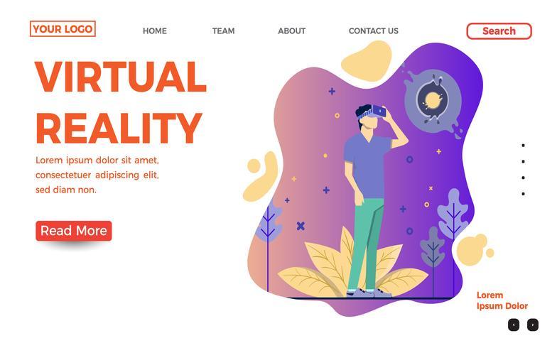 Plantilla de página de aterrizaje de realidad virtual vector