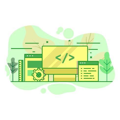 Desarrollador web moderno plano color verde ilustración