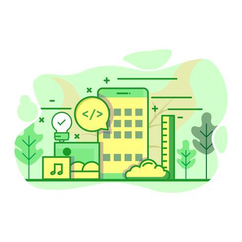 Desarrollo de aplicaciones moderno plano color verde ilustración