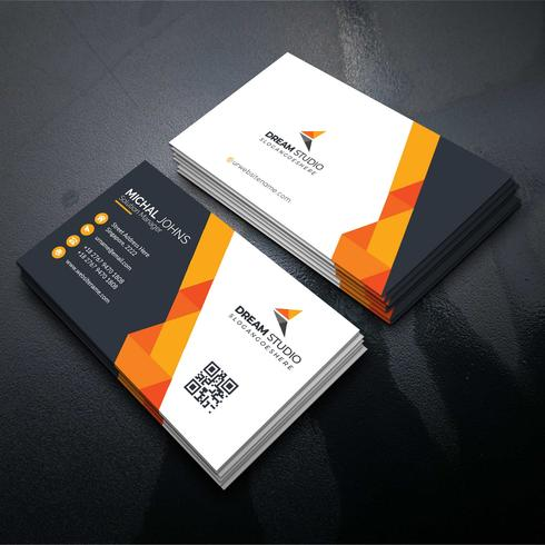 Oranje vorm bezoekkaart Gratis Vector