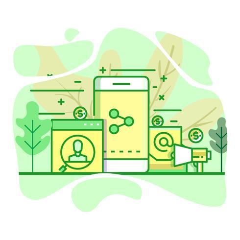 radiodiffusion moderne illustration couleur vert plat