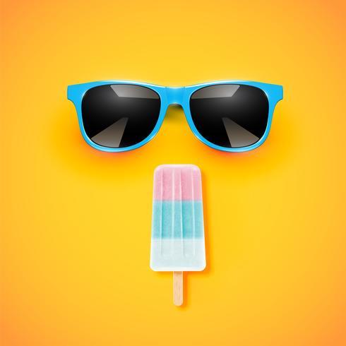 Helado realista colorido con una gafas de sol sobre fondo amarillo, ilustración vectorial vector