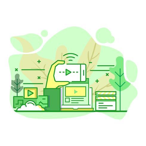 Plataforma de streaming moderno plano color verde ilustración vector