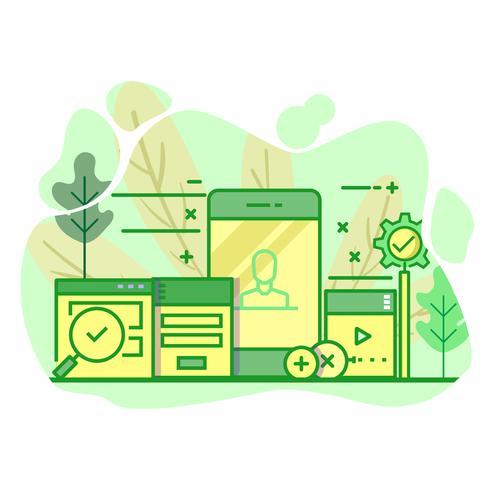 användargränssnitt modern platt grön färg illustration